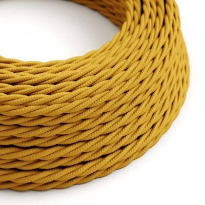 Gevlochten flexibele electriciteit textielkabel van viscose. TM25 - mosterd geel