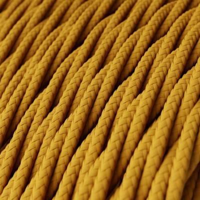 Fil Électrique Torsadé Gaine De Tissu De Couleur Effet Soie Tissu Uni Moutarde TM25
