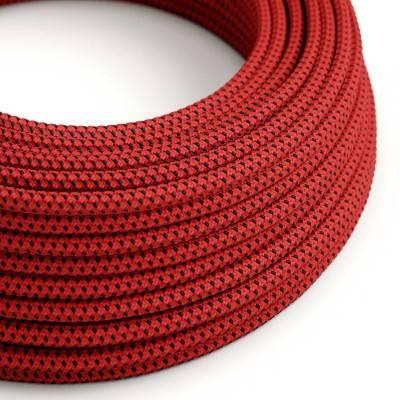 Fil Électrique Rond Gaine De Tissu De Couleur Effect 3D en relief Red Devil RT94