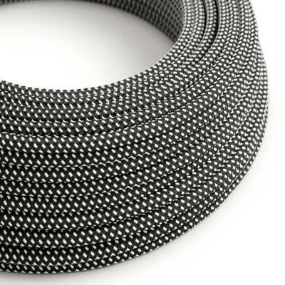 Ronde flexibele electriciteit textielkabel van viscose. RT41 -3D effect zwart/wit