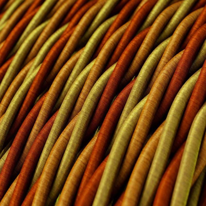 Fil Électrique Torsadé Gaine De Tissu De Couleur Effet Soie Orange TG04