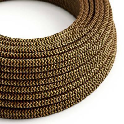 Rond flexibel strijkijzersnoer van viscose. RZ24 - zigzag goud en zwart