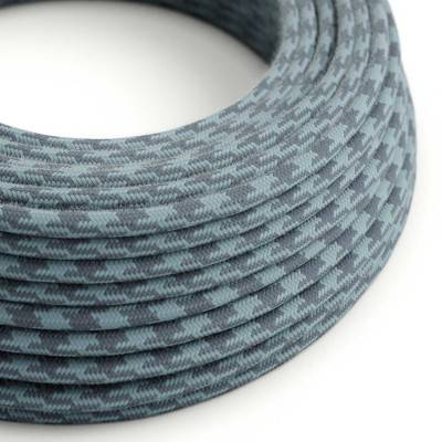 Round Electric Cable covered in Cotton - Bicoloured Stone Grey and Ocean RP25