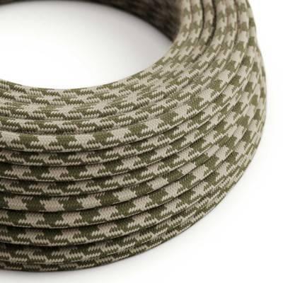 Rond flexibel strijkijzersnoer van katoen, tweekleurig. RP30 - tijmgroen en duifgrijs