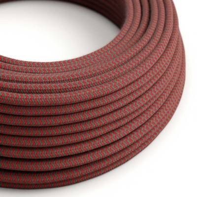 Round Electric Cable covered in Cotton - ZigZag Fire Red and Grey RZ28