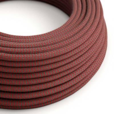 Rond flexibel strijkijzersnoer van katoen, zigzag. RZ28 - vuurrood en grijs