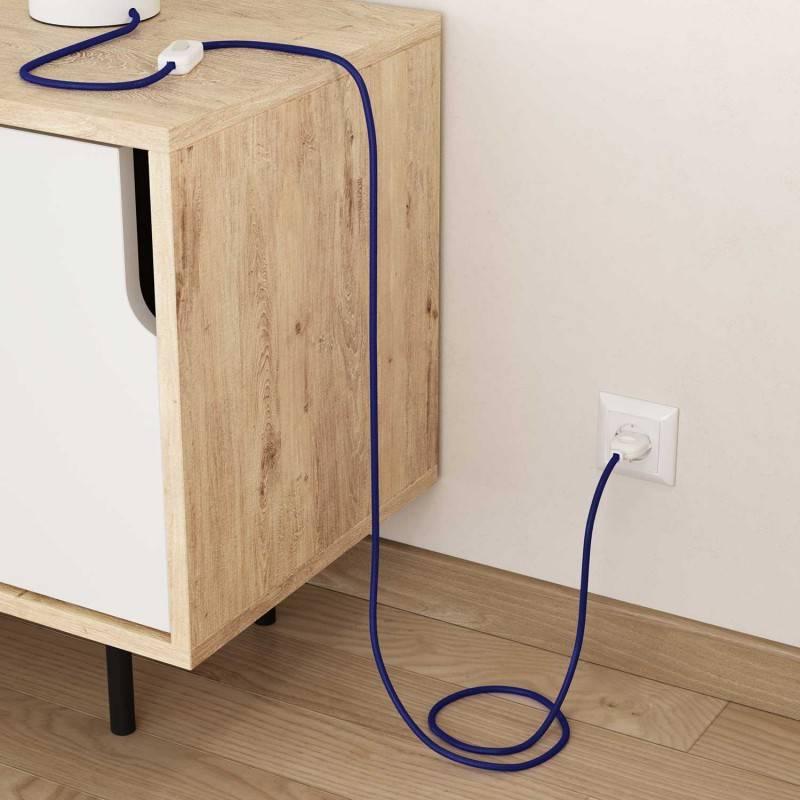 Fil Électrique Rond Gaine De Tissu Effet Soie Tissu Uni Saphir RM34