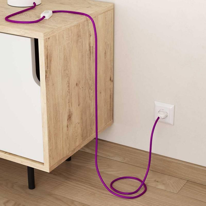 Fil Électrique Rond Gaine De Tissu Effet Soie Tissu Uni UltraViolet RM35