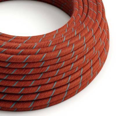 Rond flexibel strijkijzersnoer Vertigo bedekt met Brick en Light Blue katoen ERC36