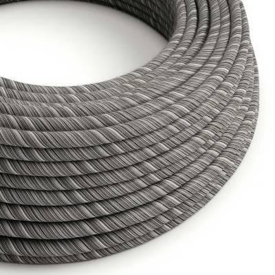 Rond flexibel strijkijzersnoer Vertigo bedekt met Black Mélange katoen ERC37