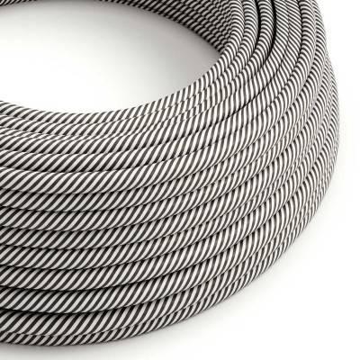 Câble Vertigo rond HD avec tissage classique Blanc et Noir ERM37