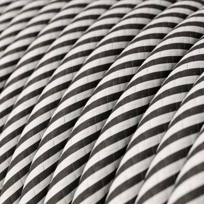 Rond strijkijzersnoer Vertigo HD bedekt met White en Slate textiel ERM37