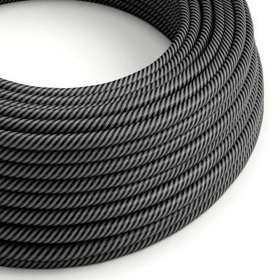 Rond strijkijzersnoer Vertigo HD bedekt met Graphite en Black Thin Stripes textiel ERM38