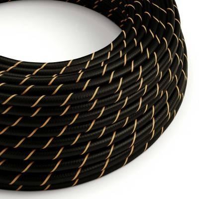 Rond strijkijzersnoer Vertigo HD bedekt met Black en Gold textiel ERM42