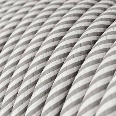 Rond strijkijzersnoer Vertigo HD bedekt met White en Aluminium textiel ERM46
