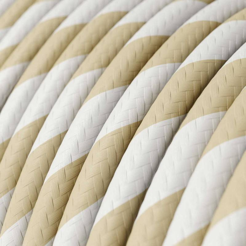 Rond strijkijzersnoer Vertigo HD bedekt met Cream en Nut Wide Stripes textiel ERM56