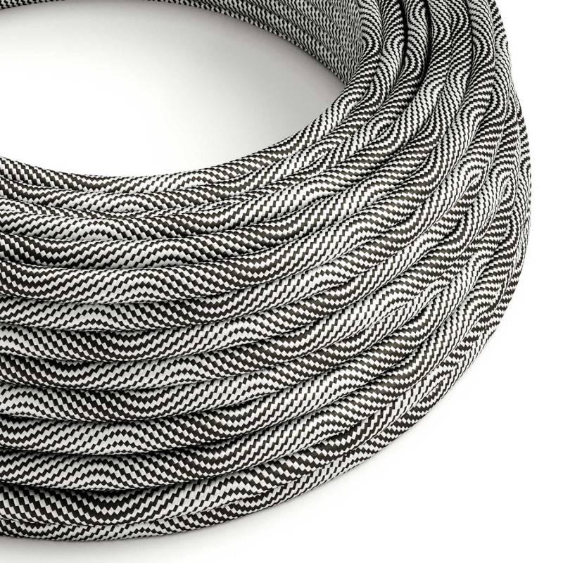 Rond strijkijzersnoer Vertigo HD bedekt met Optical Black en Silver textiel ERM64