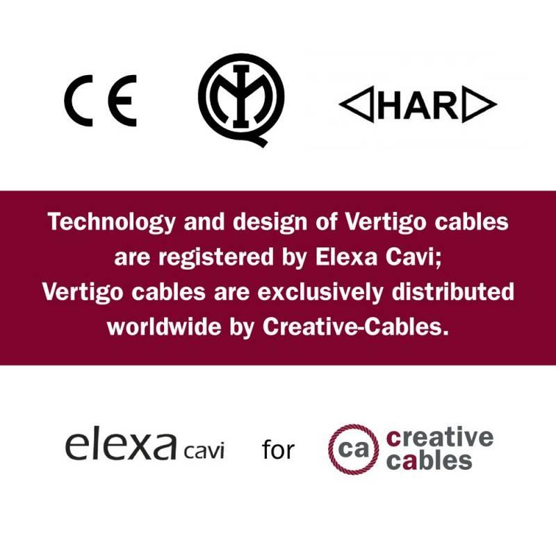 Rond strijkijzersnoer Vertigo HD bedekt met Optical Black en Copper textiel ERM66