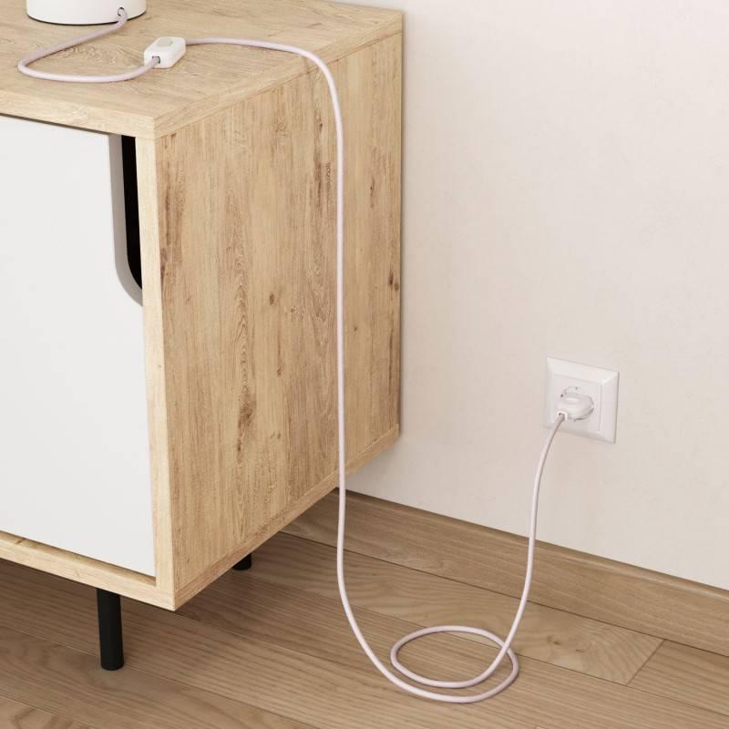 Câble électrique rond en coton de couleur rose pâle RC16