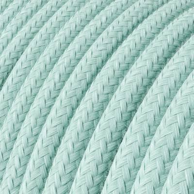 Câble électrique rond en coton de couleur unie vert céladon RC18