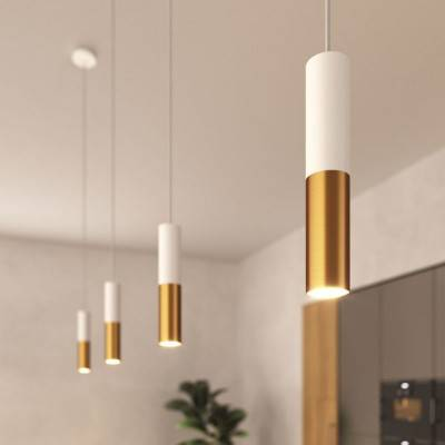 Suspension Made in Italy avec câble textile et double abat-jour Tub-E14