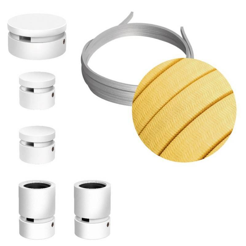 Kit Wiggle Filé system - avec câbles pour guirlande lumineuse de 3 mètres et 5 composants en bois verni blanc pour intérieur