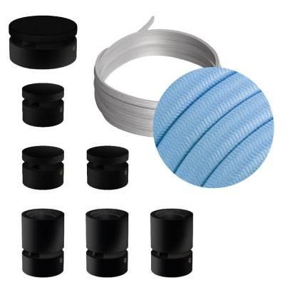 Filé Linear kit systeem - met 5 m. prikkabel voor lichtsnoer en 7 componenten van zwart gelakt hout voor binnenruimtes.
