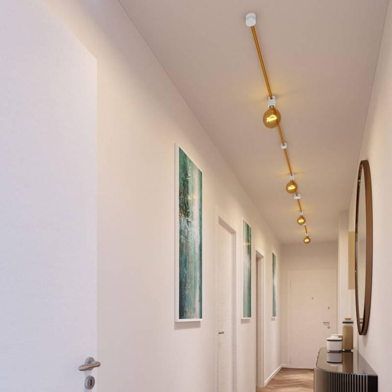 Kit Symmetric Filé system - avec câbles pour guirlande lumineuse de 5 mètres et 9 composants en bois verni blanc pour intérieur