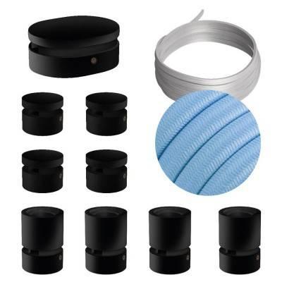 Filé Symmetric kit systeem - met 5 m. prikkabel voor lichtsnoer en 9 componenten van zwart gelakt hout voor binnenruimtes.