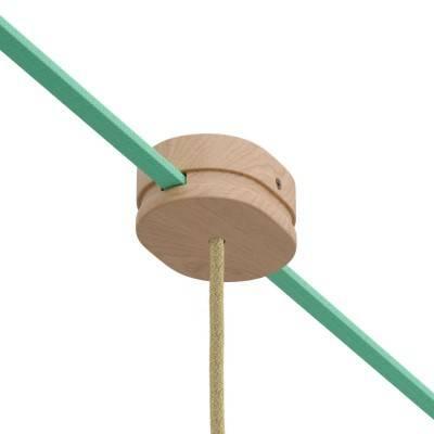 Ovale houten aansluitkap met een gat in het midden en 2 zijgaten voor prikkabels voor lichtsnoer en Filé-systeem. Made in Italy