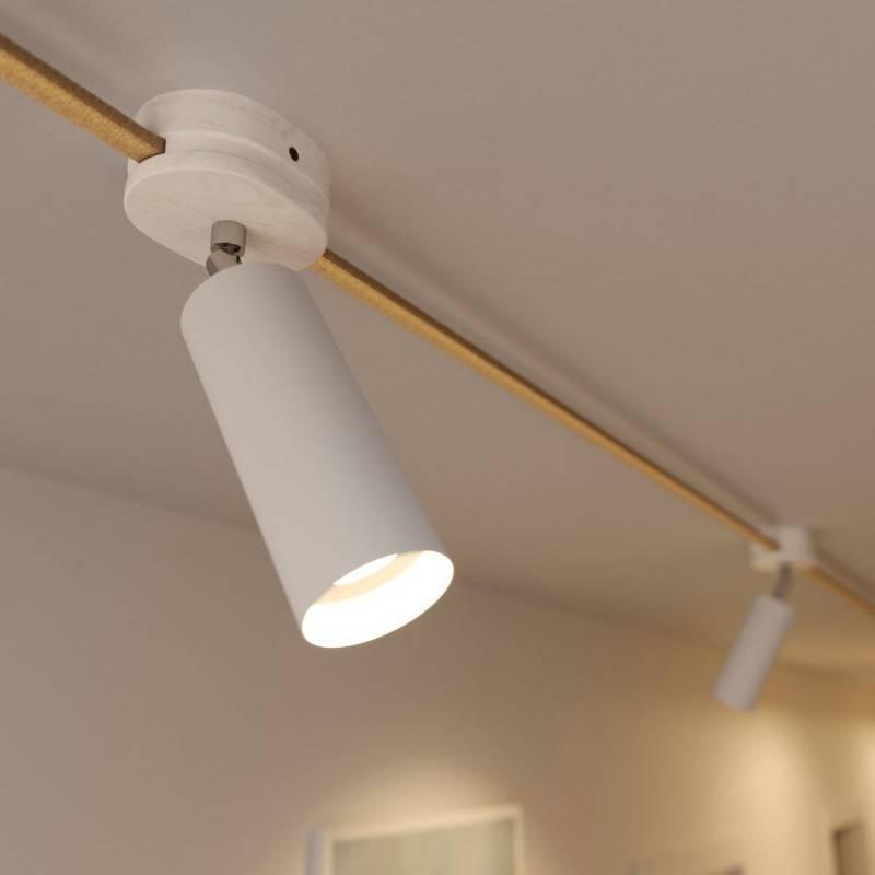Fermaluce Filè verstelbaar spotje met Tub-E14 metalen kap, wand- of plafondlamp voor Filè-Systeem
