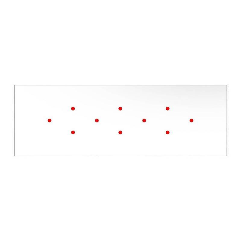 Rosace XXL Rose-One rectangulaire à 10 trous et 6 trous latéraux, dimension 675 x 225 mm