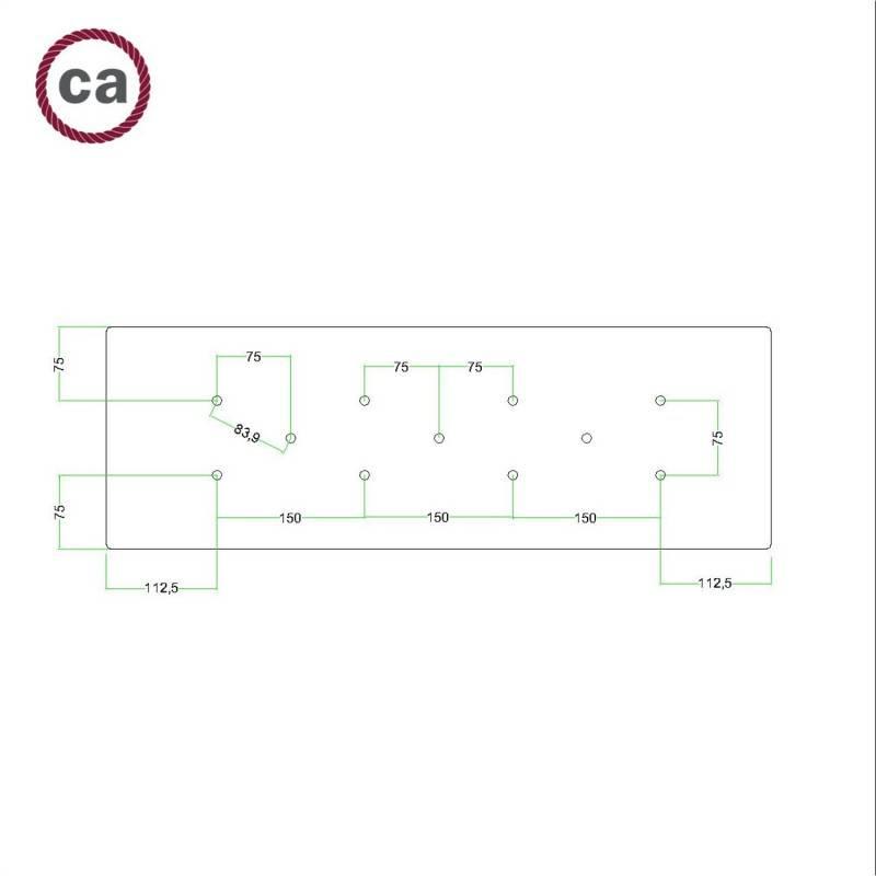 Rosace XXL Rose-One rectangulaire à 11 trous et 6 trous latéraux, dimension 675 x 225 mm