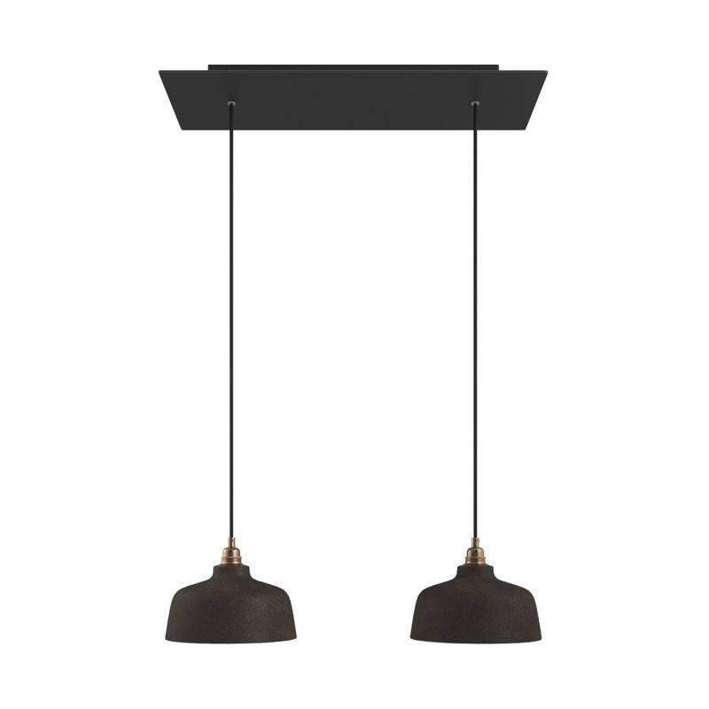 2 lichts-hanglamp voorzien van XXL rechthoekige Rose-One 675 mm compleet met strijkijzersnoer en Coppa lampenkap