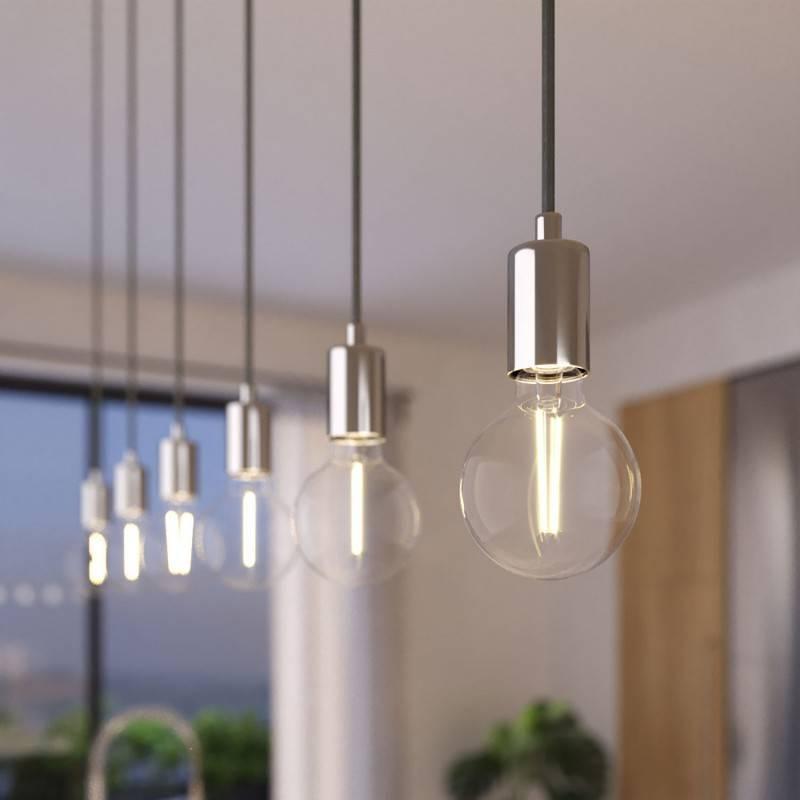 3 lichts-hanglamp voorzien van XXL rechthoekige Rose-One 675 mm compleet met strijkijzersnoer en metalen afwerking