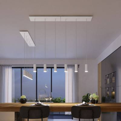 3 lichts-hanglamp voorzien van XXL rechthoekige Rose-One 675 mm compleet met strijkijzersnoer en Tub E14 metalen lampenkap