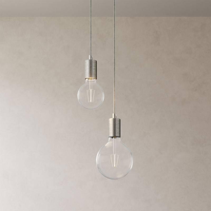 2 lichts-meervoudige hanglamp compleet met strijkijzersnoer en metalen afwerkingen