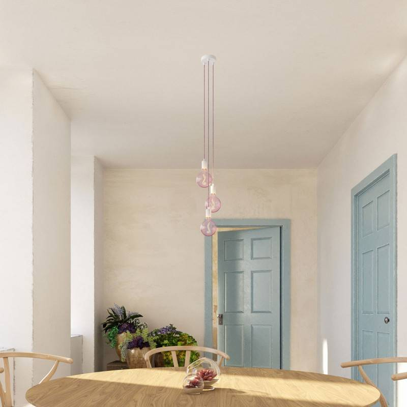 3 lichts-meervoudige hanglamp compleet met strijkijzersnoer en metalen afwerkingen
