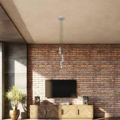 3 lichts-hanglamp voorzien van ronde Rose-One 200 mm compleet met strijkijzersnoer en betonnen afwerkingen