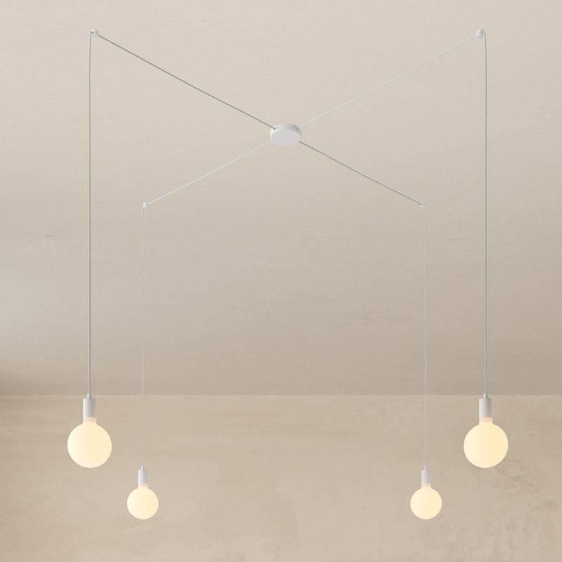 Spider - Lampe suspension multiple 4 bras Made in Italy avec câble textile et finitions en métal