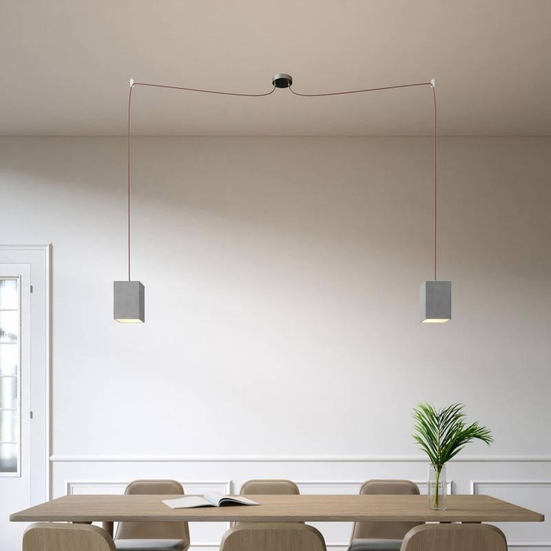 Spider - Lampe suspension multiple 2 bras Made in Italy avec câble textile et abat-jour en béton