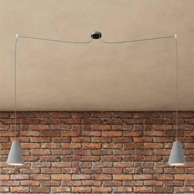 Spider - 2 lichts-meervoudige hanglamp, Made in Italy, compleet met strijkijzersnoer en betonnen lampenkap