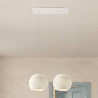 2 lichts-hanglamp voorzien van XXL rechthoekige Rose-One 675 mm compleet met strijkijzersnoer en Cupola M-lampenkap