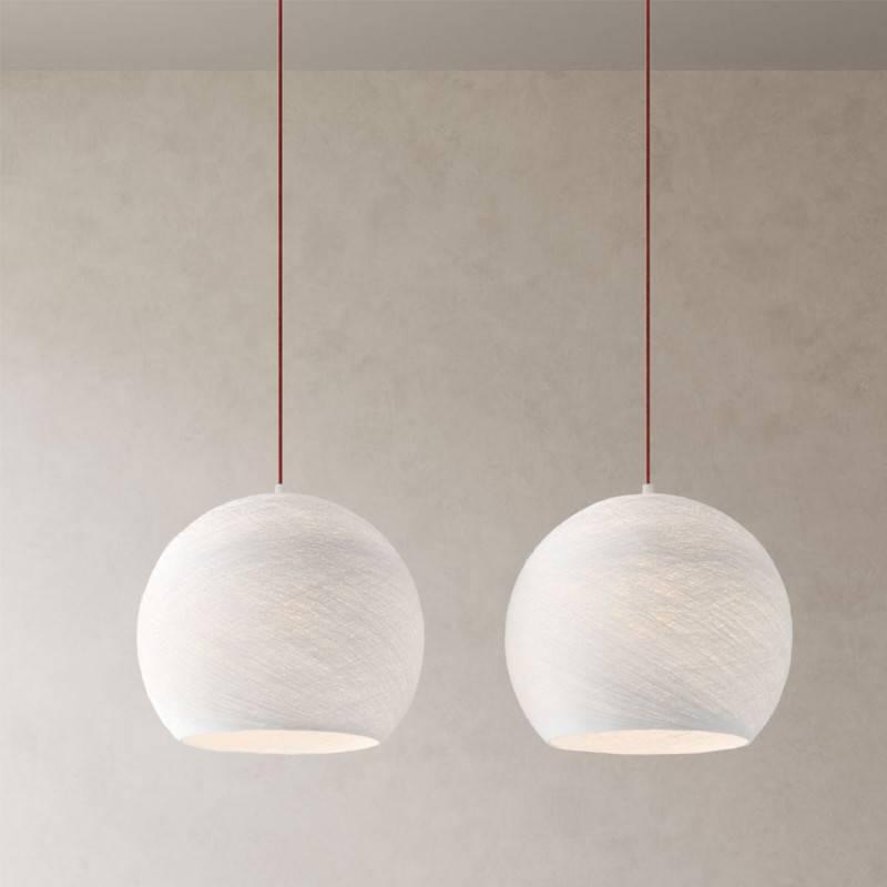 Lampe suspension 2 bras avec Rose-One XXL rectangulaire 675 mm avec câble textile et abat-jour Coupole M