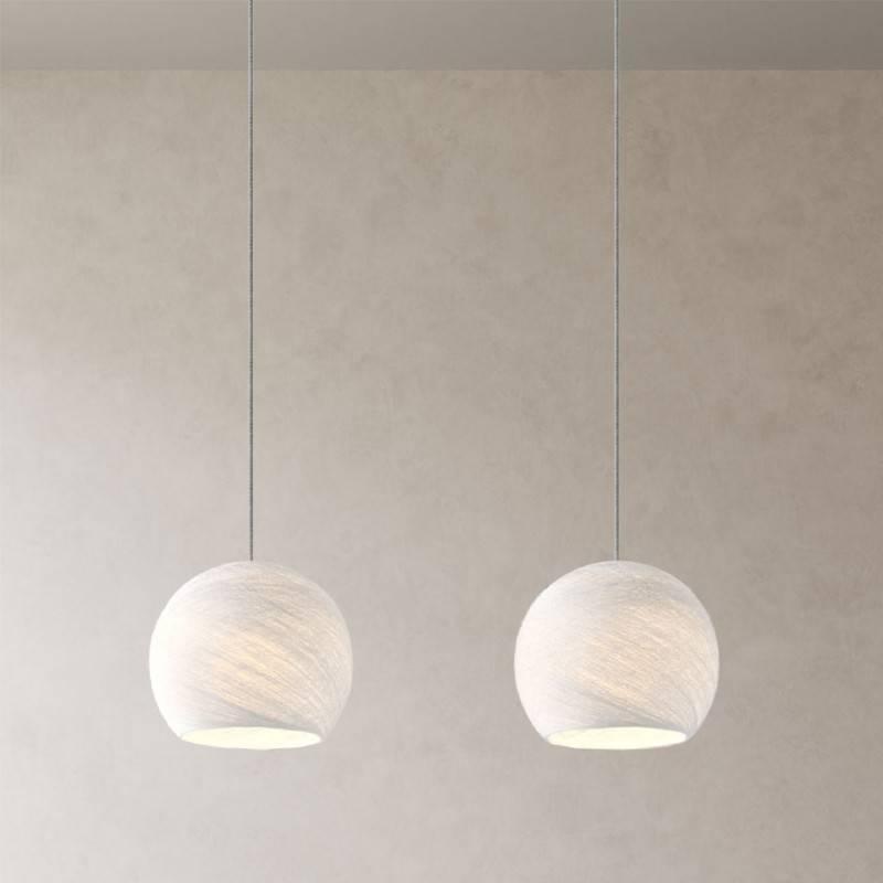 Lampe suspension 2 bras avec Rose-One XXL rectangulaire 675 mm avec câble textile et abat-jour Coupole XS
