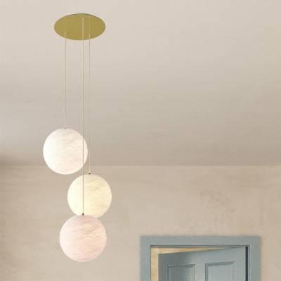 Lampe suspension 3 bras avec Rose-One XXL rond 400 mm avec câble textile et abat-jour Sphère M