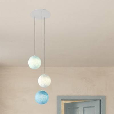 Lampe suspension 3 bras avec Rose-One XXL rond 400 mm avec câble textile et abat-jour Sphère XS