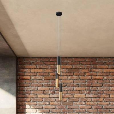 3 lichts-meervoudige hanglamp compleet met strijkijzersnoer en metalen lampenkap Dubbele Tub-E14