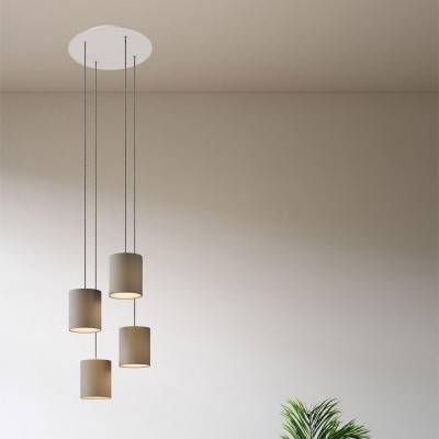 4 lichts-hanglamp voorzien van XXL ronde Rose-One 400 mm compleet met strijkijzersnoer en stoffen Cilindro-lampenkap