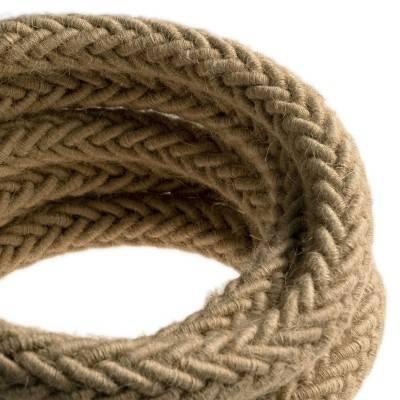 2XL gedraaid touw van jute, 2x0,75 elektrische kabel. Diameter 24mm.